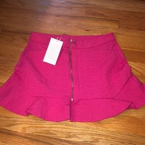 Zara Trafaluc Hot Pink Mini Ruffle Skirt M NWT
